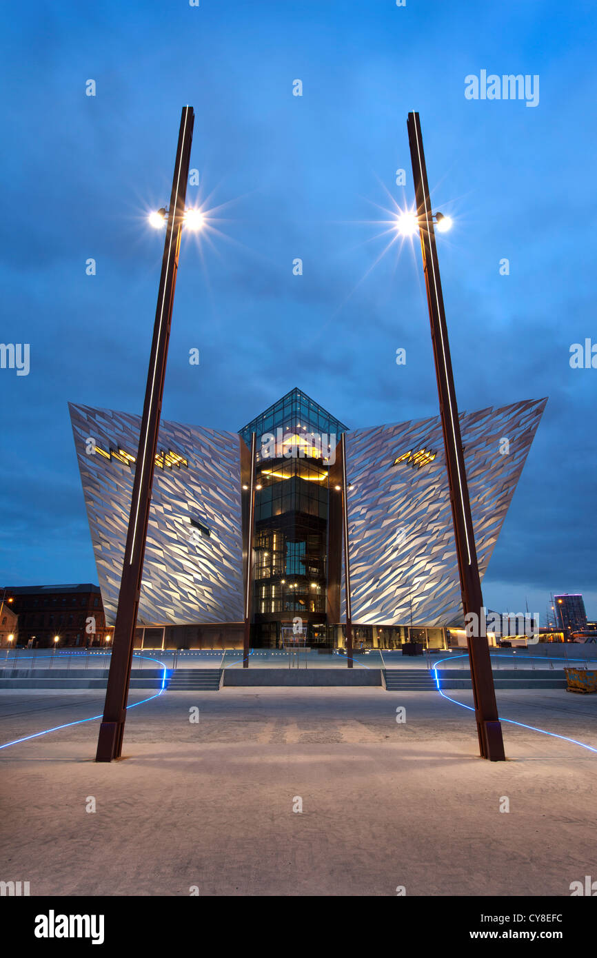 Night shot of Titanic Belfast visitor centre, Northern Ireland. - Stock Image