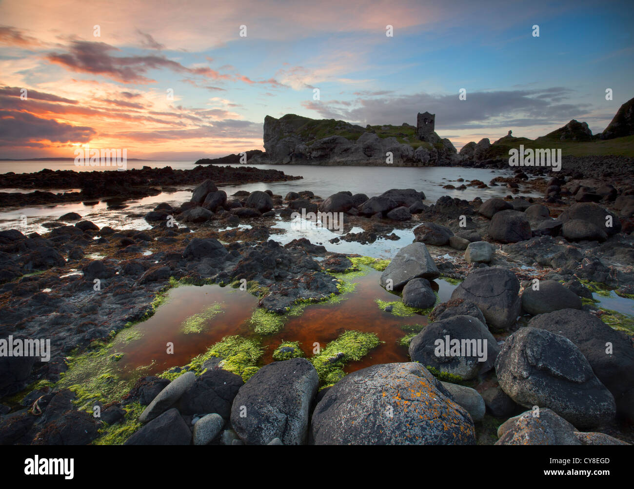 Kinbane Castle on Kinbane Head, County Antrim - Stock Image