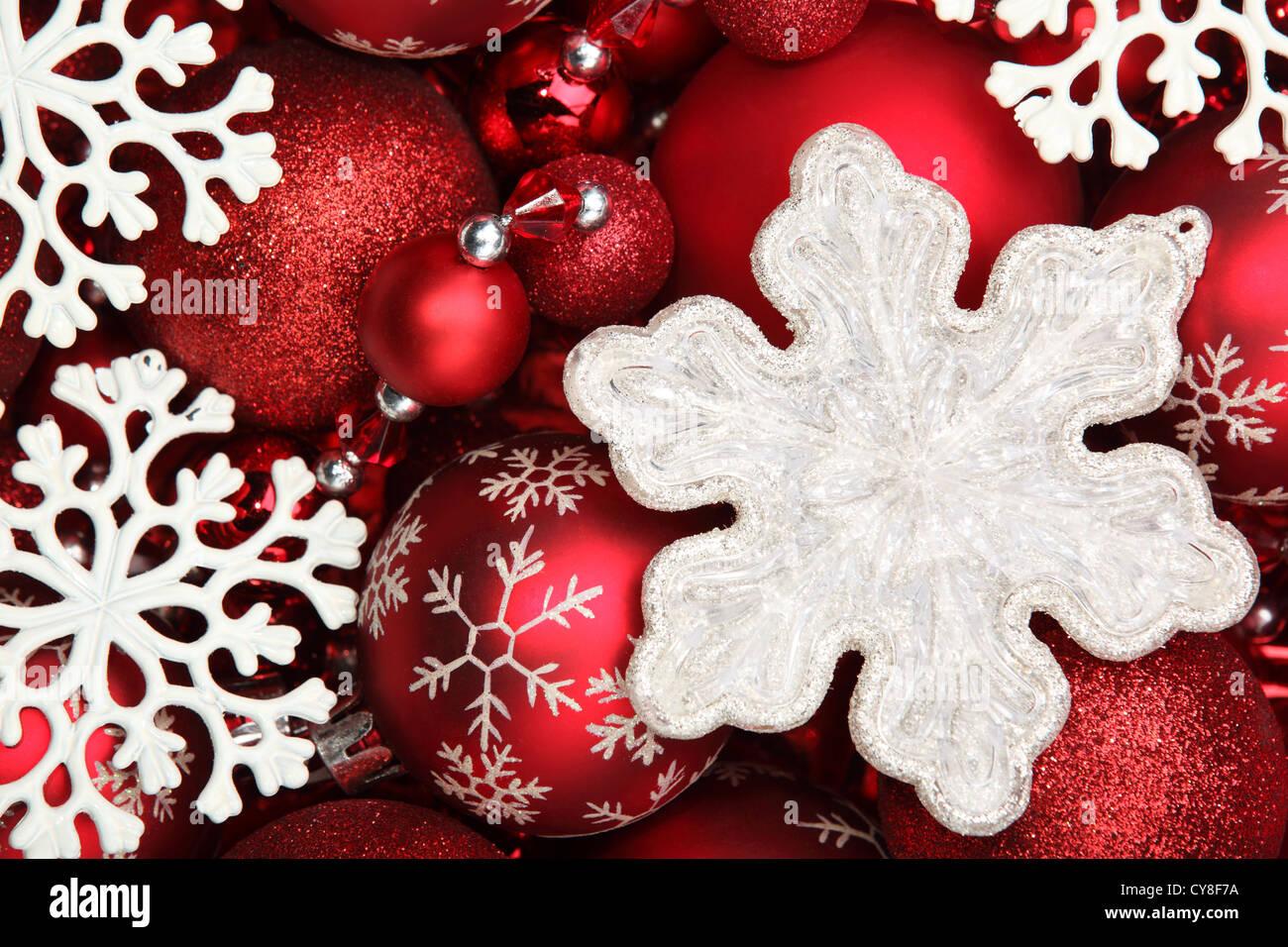 Snowflake and red Christmas balls Stock Photo