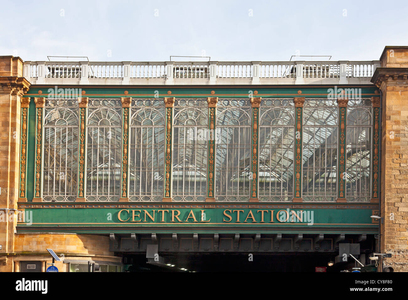 Detail of the Venetian-style windows on the Heilanman's Umbrella, the railway bridge into Glasgow Central Station, - Stock Image