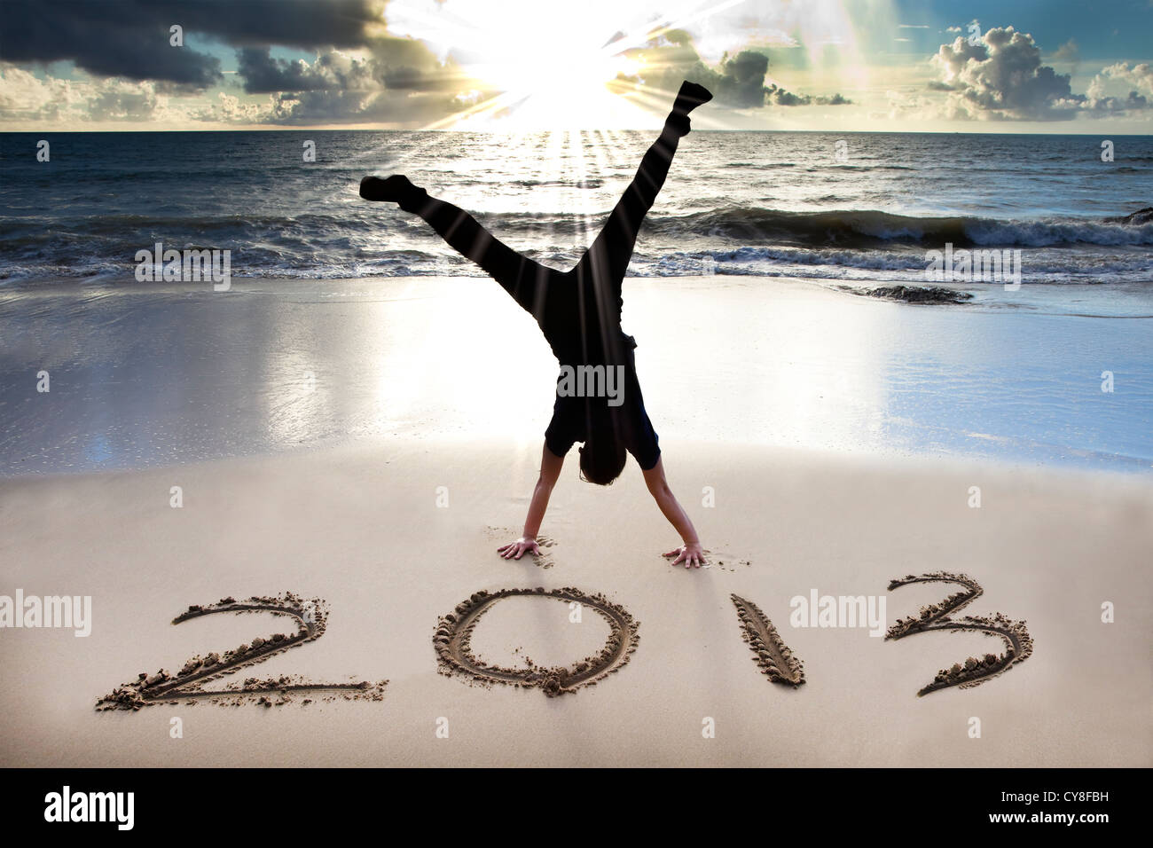happy new year 2013 on the beach - Stock Image