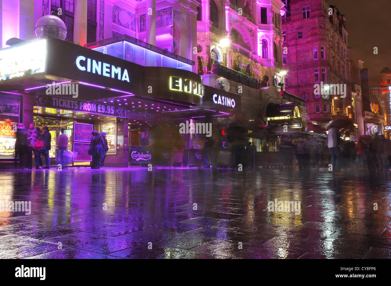 Empire Cinema Casino with people gathered outside in Leicester square, London - Stock Image