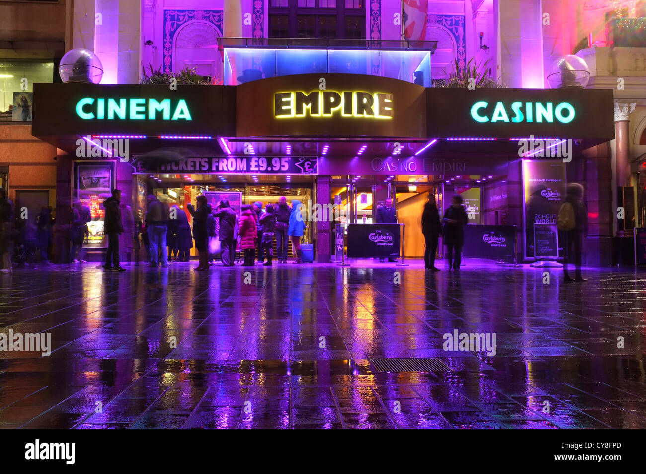 Empire Cinema Casino with people gathered outside in Leicester square, London Stock Photo