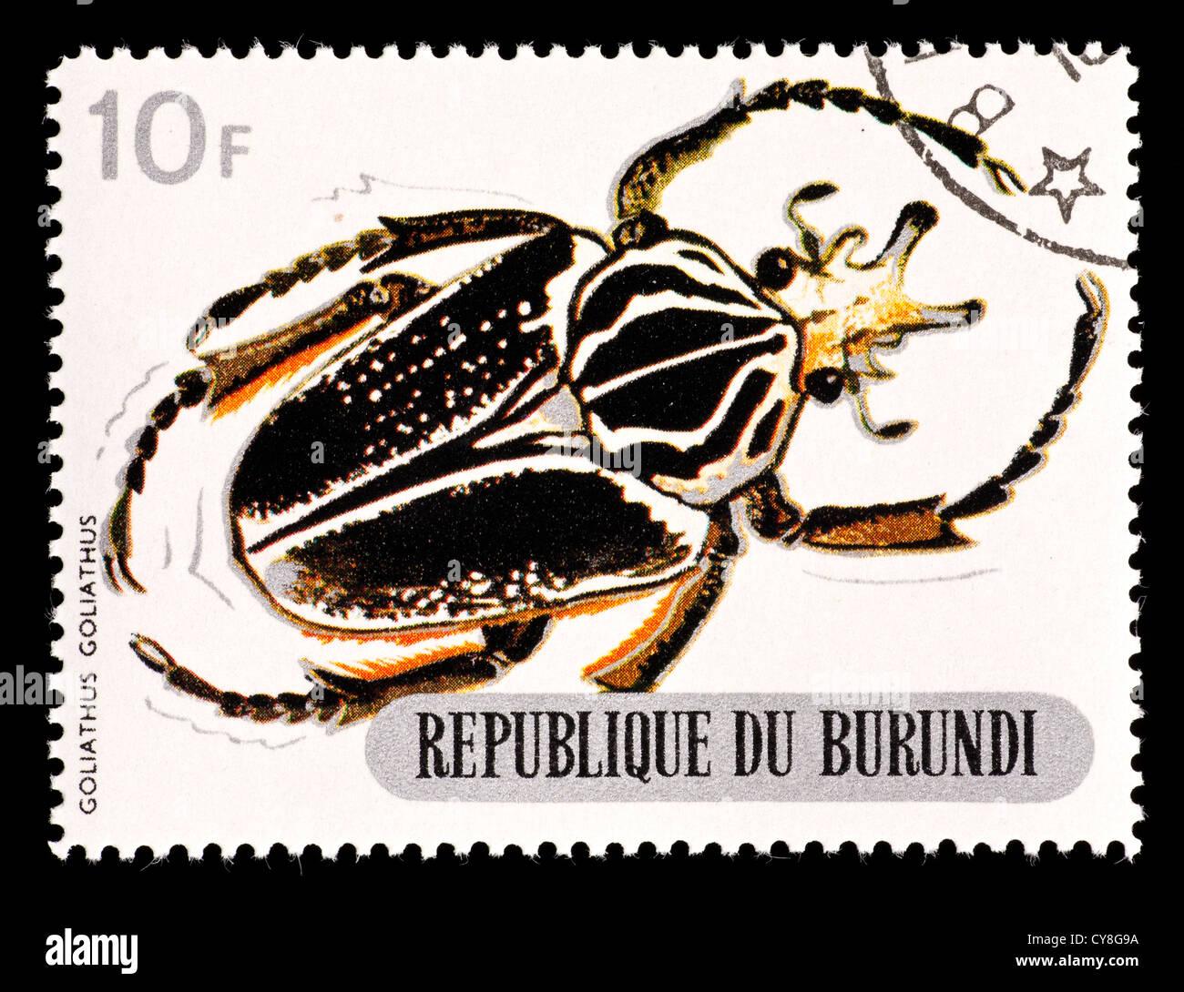 Postage stamp from Burundi depicting a goliath scarab beetle (Goliathus goliathus) Stock Photo