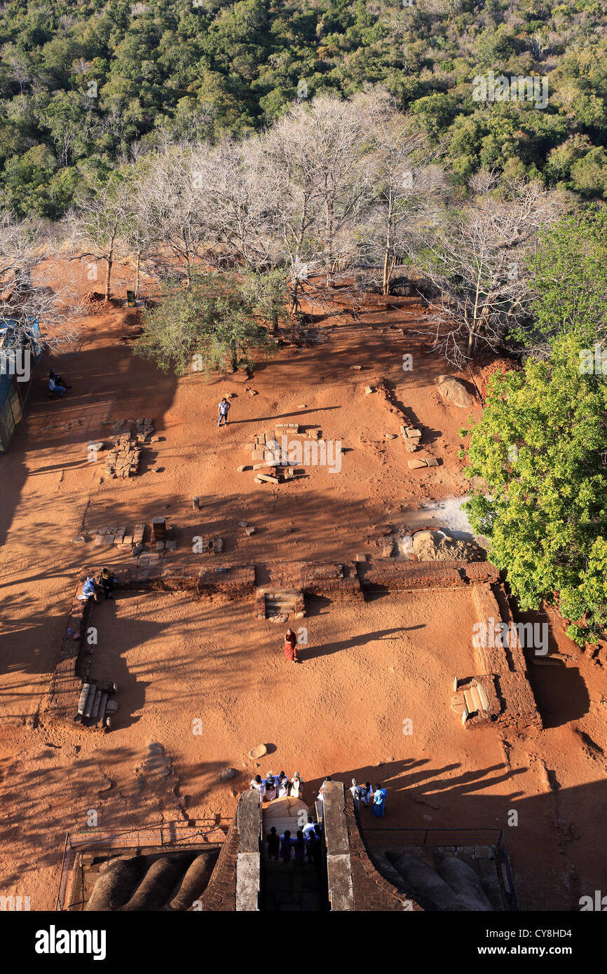 View looking down at the Lion platform from the top of Sigiriya Lion's Rock ancient temple in Sigiriya, Sri - Stock Image