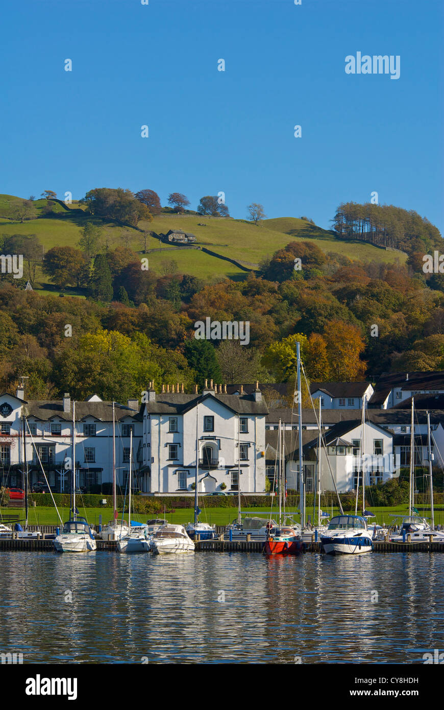 The Low Wood Hotel and marina, on the shore of Lake Windermere, Lake District National Park, Cumbria England UK - Stock Image