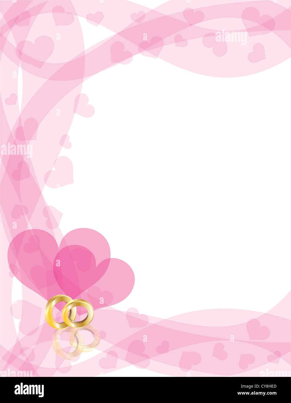 Wedding Rings Gold Band on Swirls Border with Flying Hearts Border ...