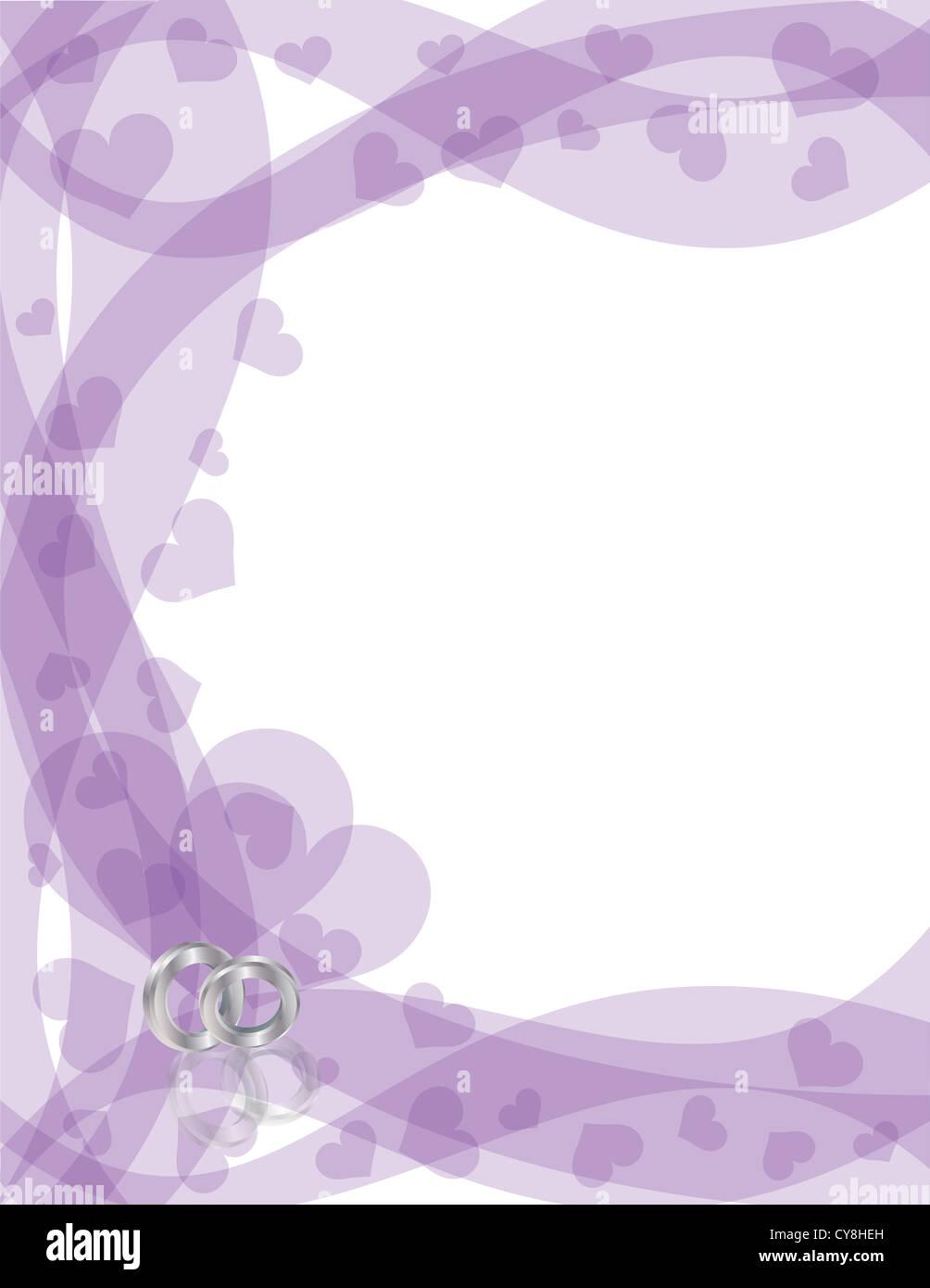 Wedding Rings Platinum Band On Purple Swirls Border With Flying