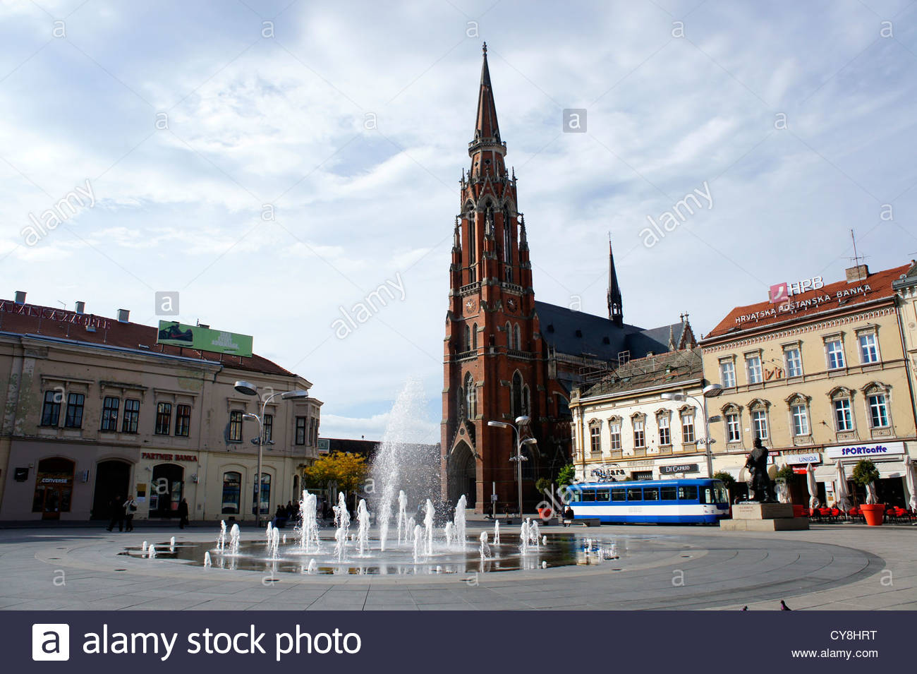 The fountain at Ante Starcevic Square.Osijek,Croatia - Stock Image