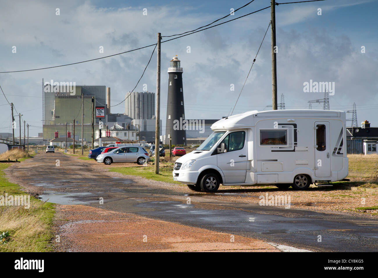 Dungeness; Nuclear Power Station; Old Lighthouse and parked Motorhome; Kent; - Stock Image