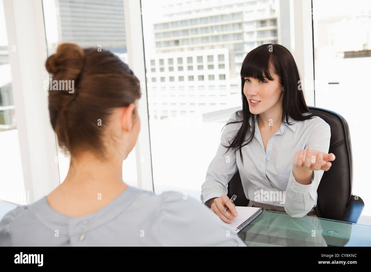 Business woman interviews a potential new employee Stock Photo