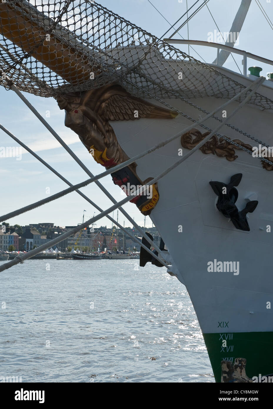 Figurehead of tall ship. Waterford, Ireland - Stock Image