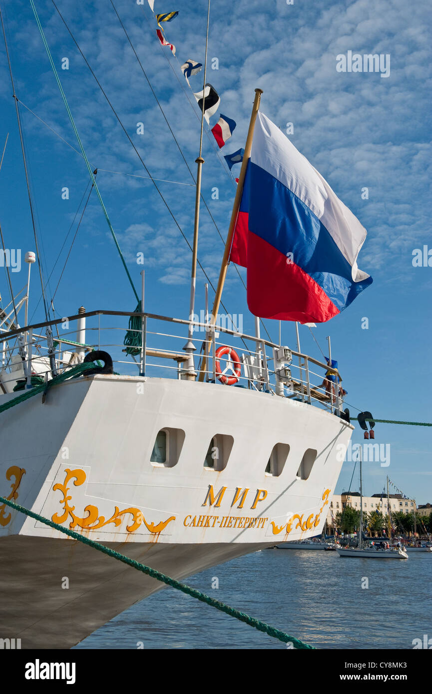 Russian flag flying over the stern of large tall ship used for sailors training. Waterford, SE Ireland - Stock Image