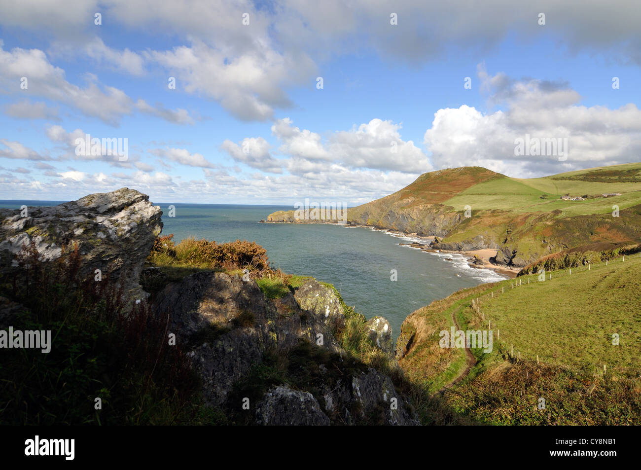 View of Llangrannog and Cardigan Bay, Ceredigion, Wales, Great Britain - Stock Image