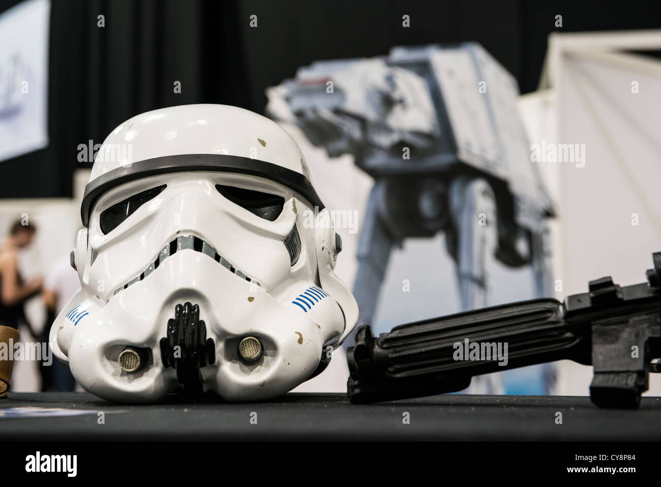 LONDON, UK - OCTOBER 28: Display of replicas of Star Wars' Storm Trooper helmet on display at the London Comicon - Stock Image