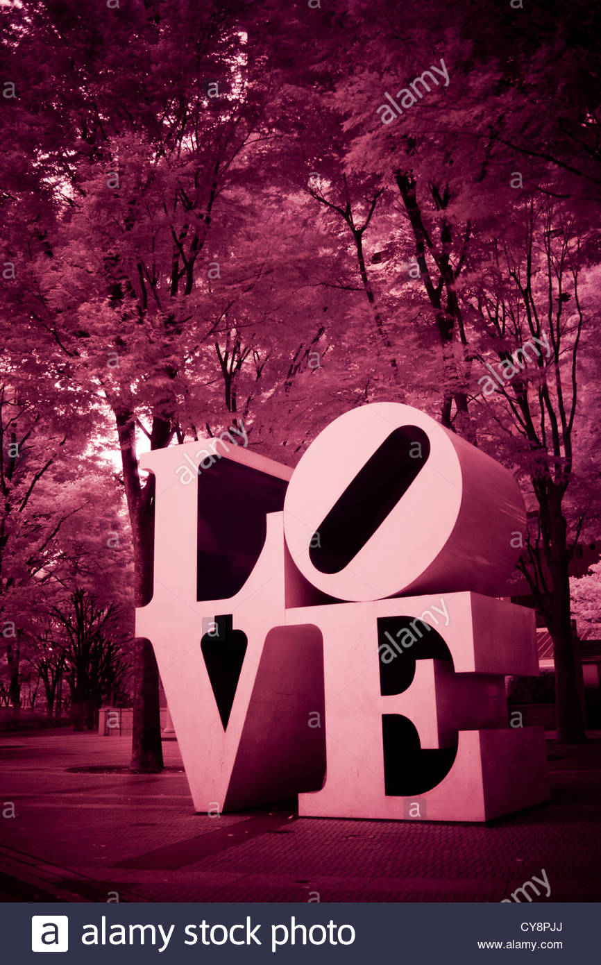 An infrared image of Robert Indiana's LOVE sculpture in Shinjuku. Stock Photo