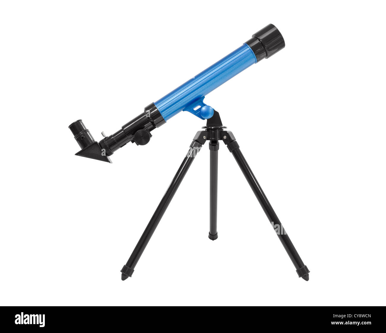 Blue telescope isolated with clipping path. - Stock Image