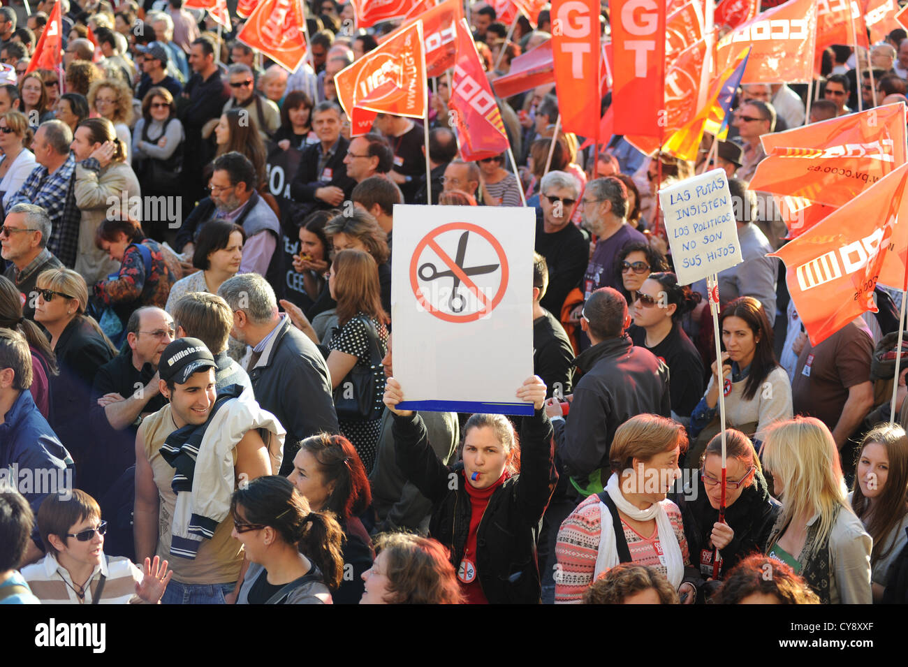 Anti-austerity protest against budget cuts in the Spanish city of Valencia in 2012. - Stock Image