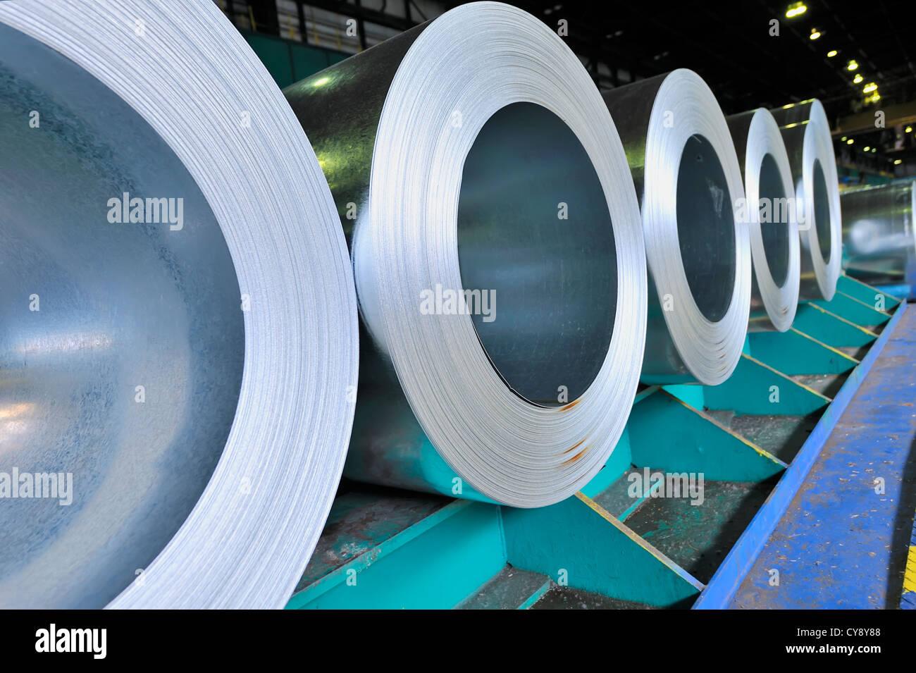 rolls of steel sheet - Stock Image