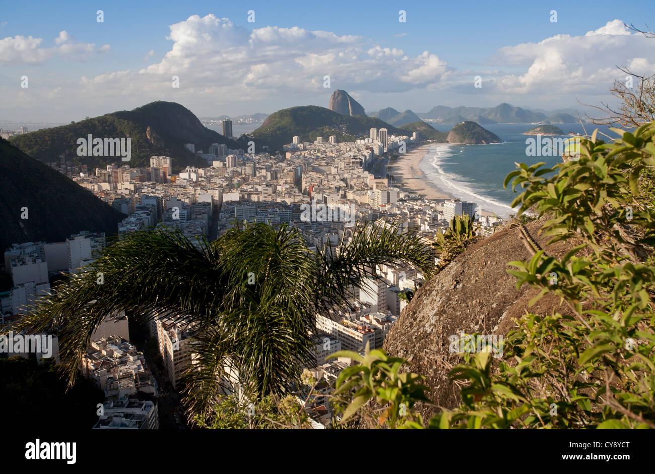 View over Copacabana from Morro do Cantagalo Rio de Janeiro Brazil Stock Photo