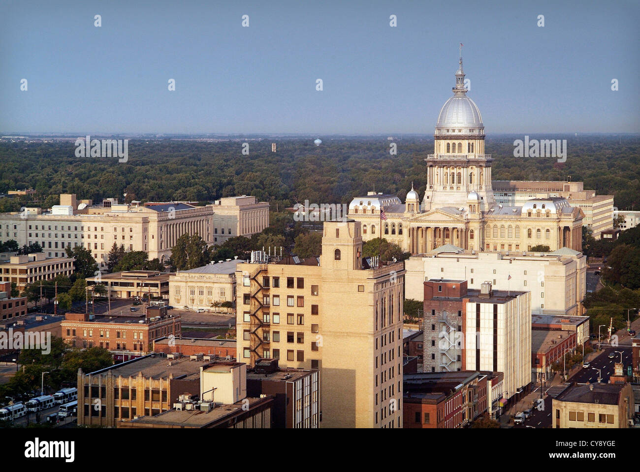 Springfield Illinois USA State Capital and home of the Lincoln Library and Museum. General view downtown and Capitol - Stock Image