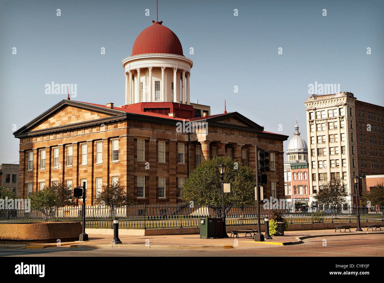 Springfield Illinois USA State Capital and home of the Lincoln Library and Museum.  The Old State Capitol Building. - Stock Image