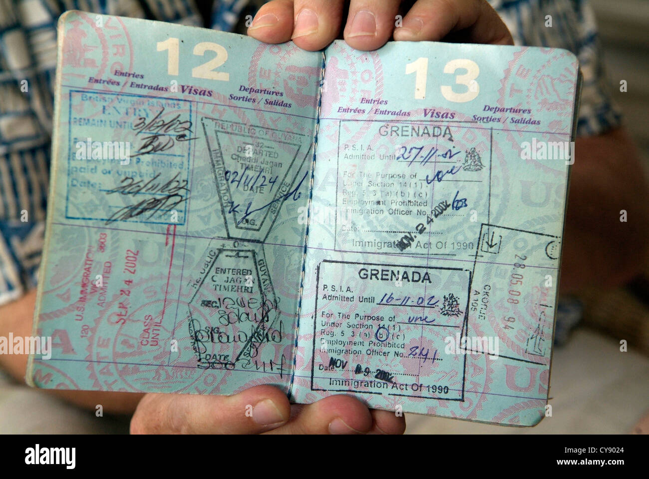 US PASSPORT Open At Pages Showing Visa Stamps