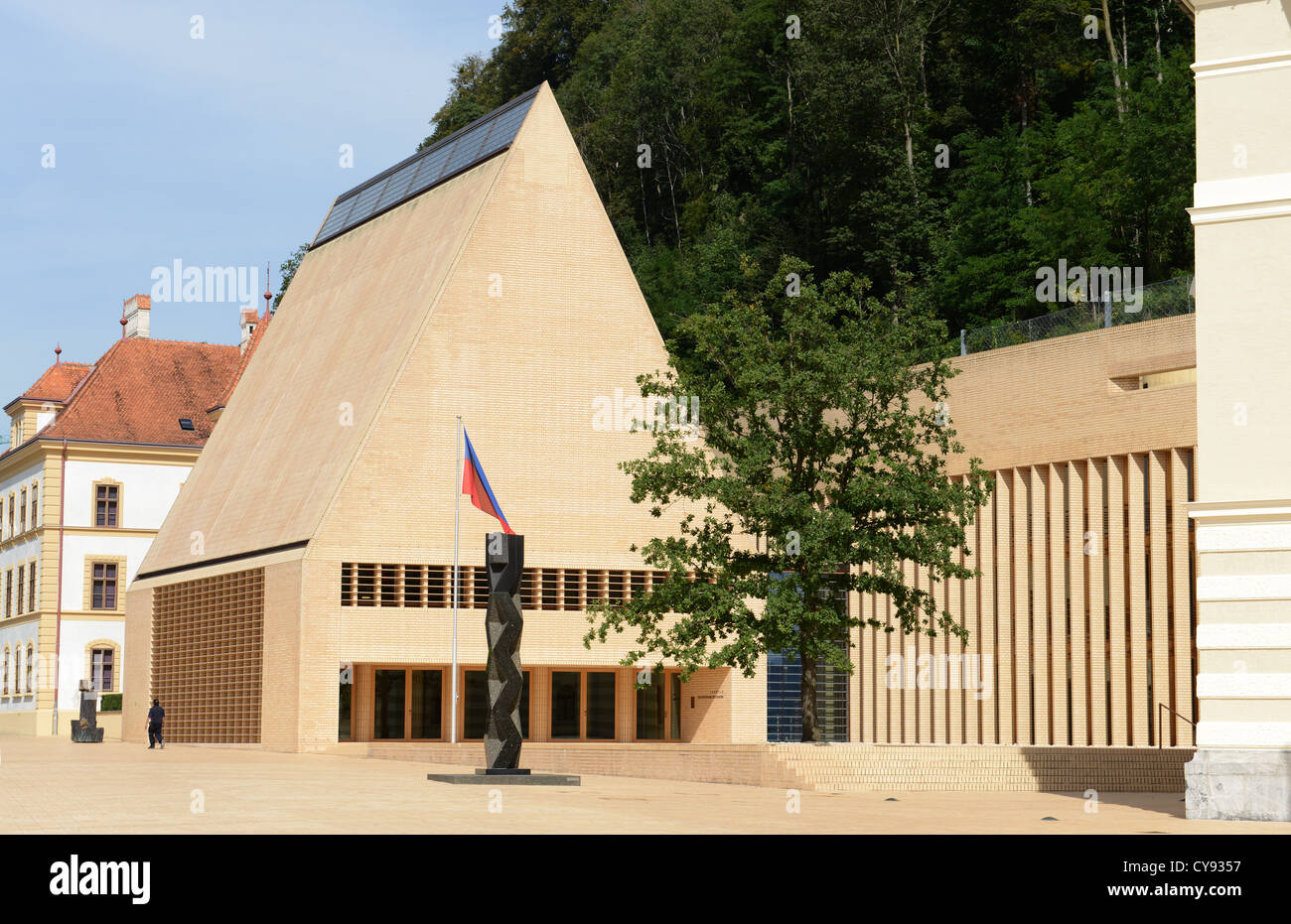 Liechtenstein parliament at Vaduz - Stock Image
