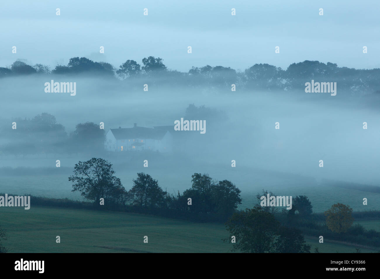 House in mist at dusk. Somerset. England. UK. - Stock Image