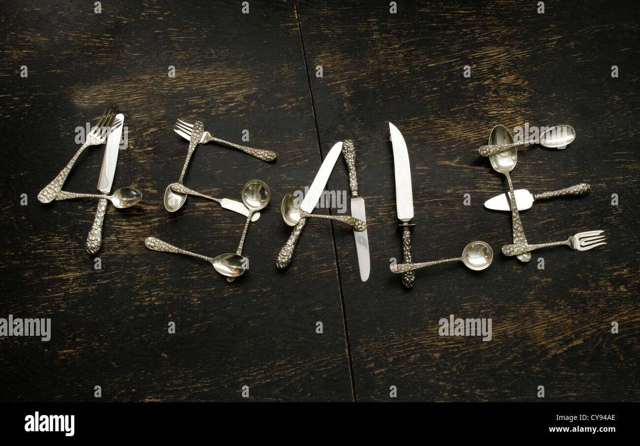 sterling silver flatware spelling 4 Sale - Stock Image
