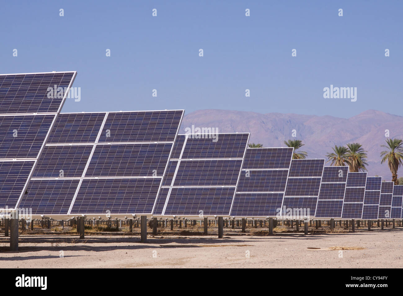 One of the largest solar photovoltaic (PV) energy systems in the United States covering five acres of Death Valley - Stock Image