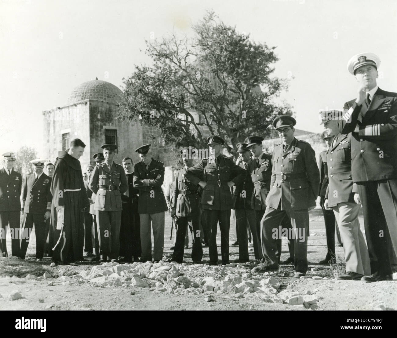 ALLIED LEADERS in Jerusalem on way back from Tehran Conference, December, 1943.See Description below for names. - Stock Image