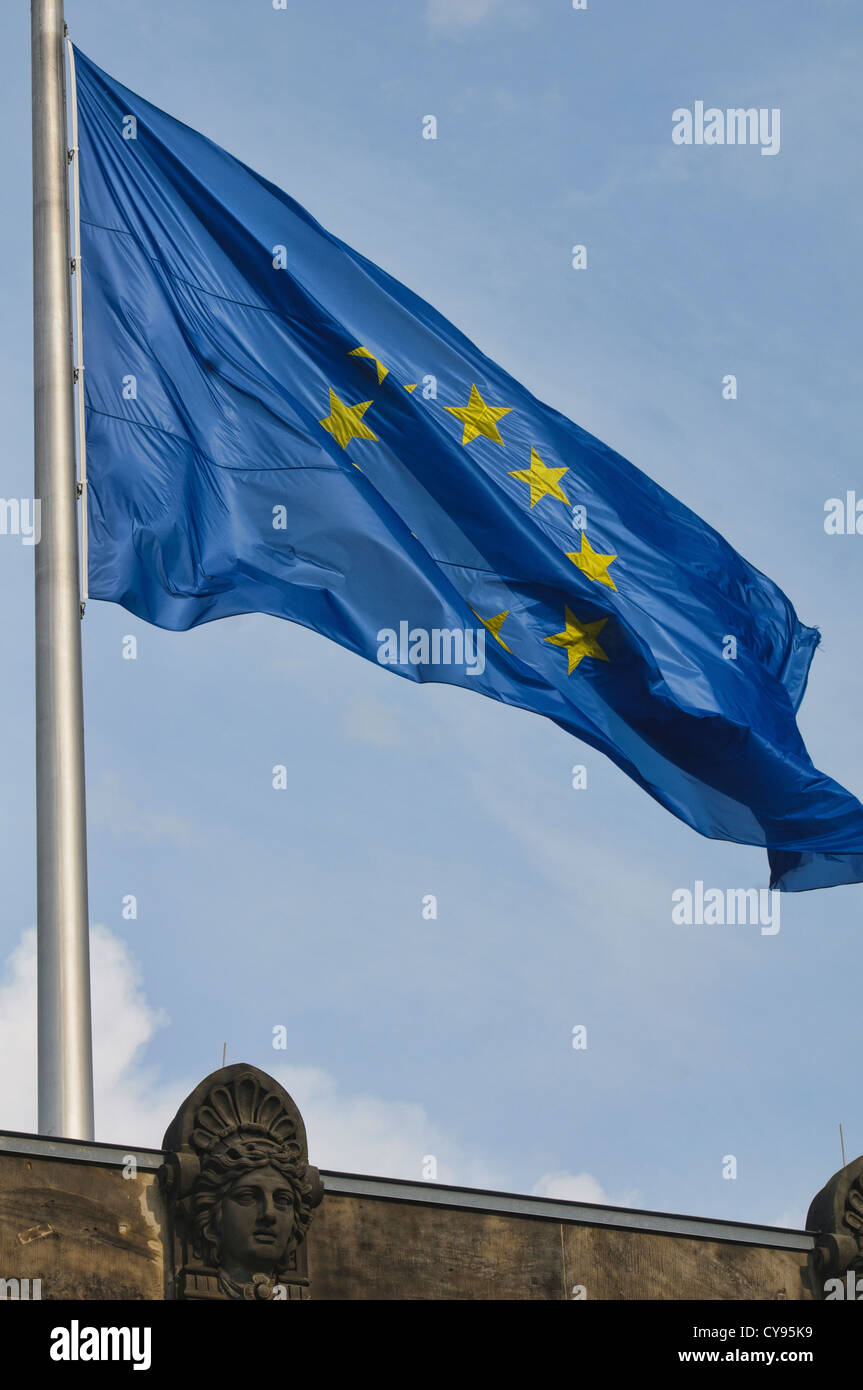 European Union flag flying over the Reichstag Building in Berlin, Germany - Stock Image