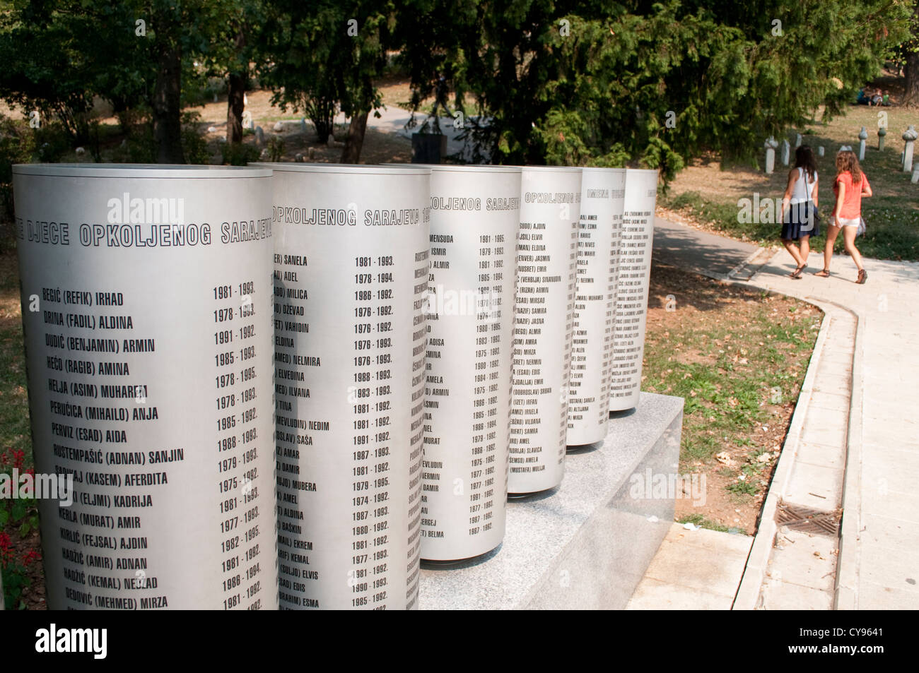 Engraved names of children killed during the 1992-95 siege of the city by Bosnian Serb forces, Sarajevo, Bosnia - Stock Image