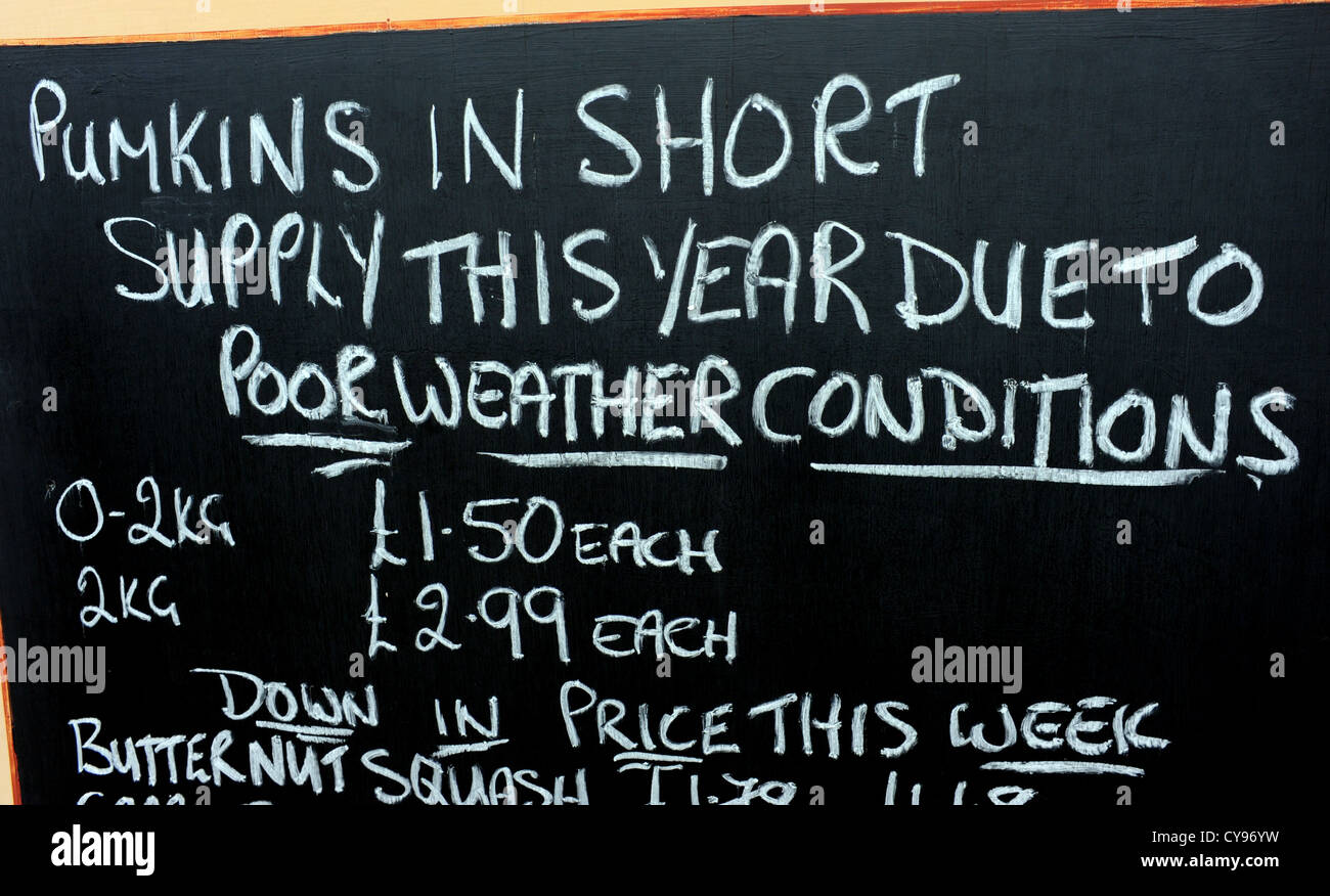 Sign about pumpkins being in short supply because of the bad summer weather - Stock Image
