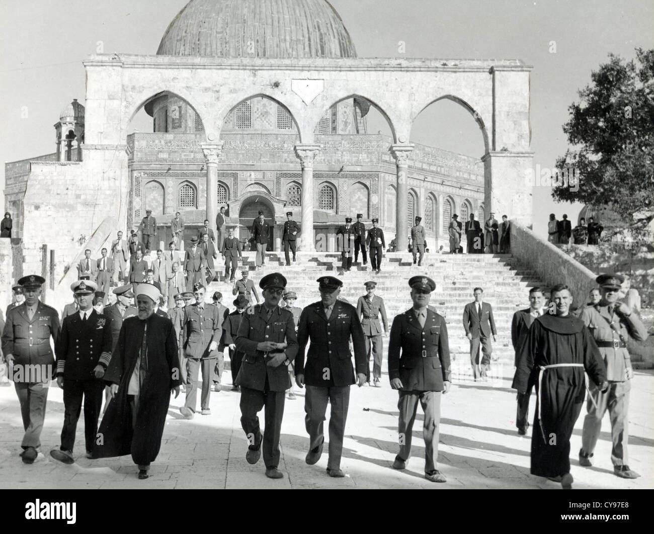 ALLIED LEADERS IN JERUSALEM 1943 on way back from  Tehran Conference, here leaving the Dome of the Rock.  Photo - Stock Image
