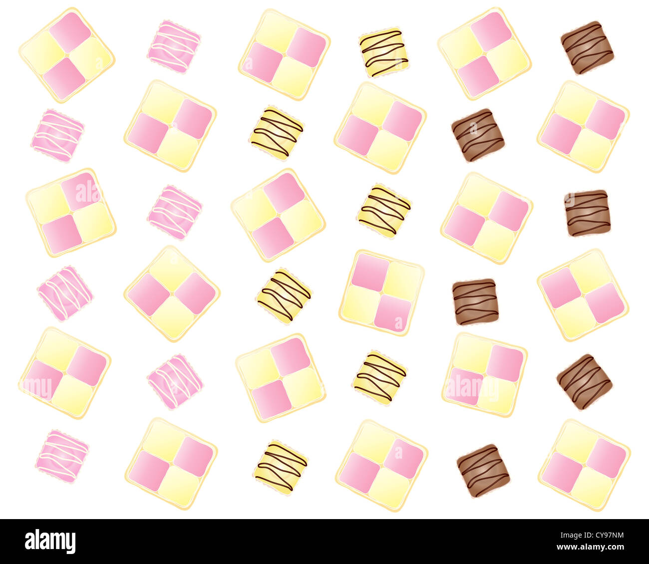 an illustration of an abstract cake design with Battenburg slices and French fancies in a fun layout on a white - Stock Image