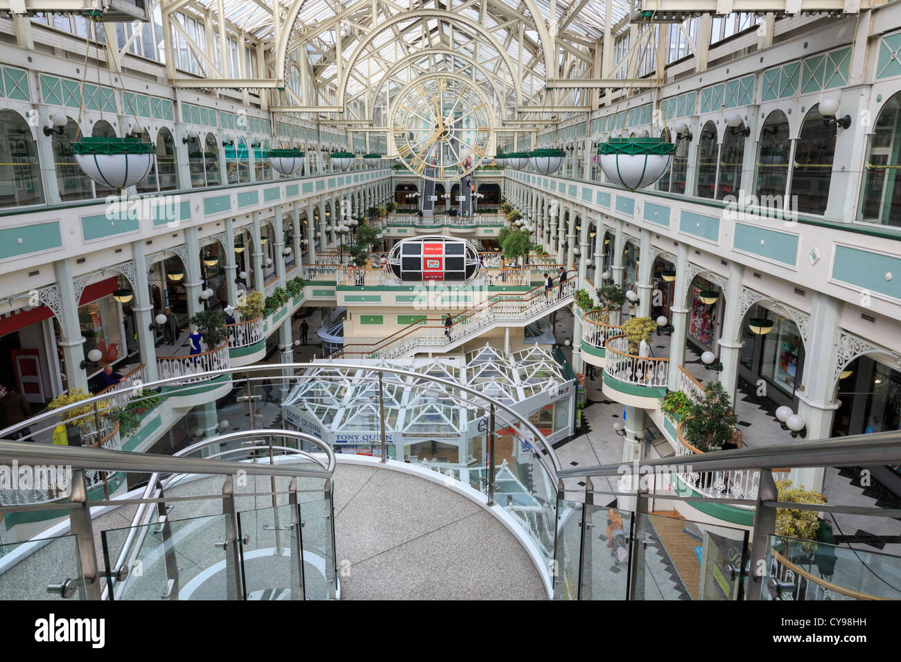 Staircase inside St Stephen's Green Shopping Centre with balconies on each side. Dublin, Southern Ireland, Eire - Stock Image