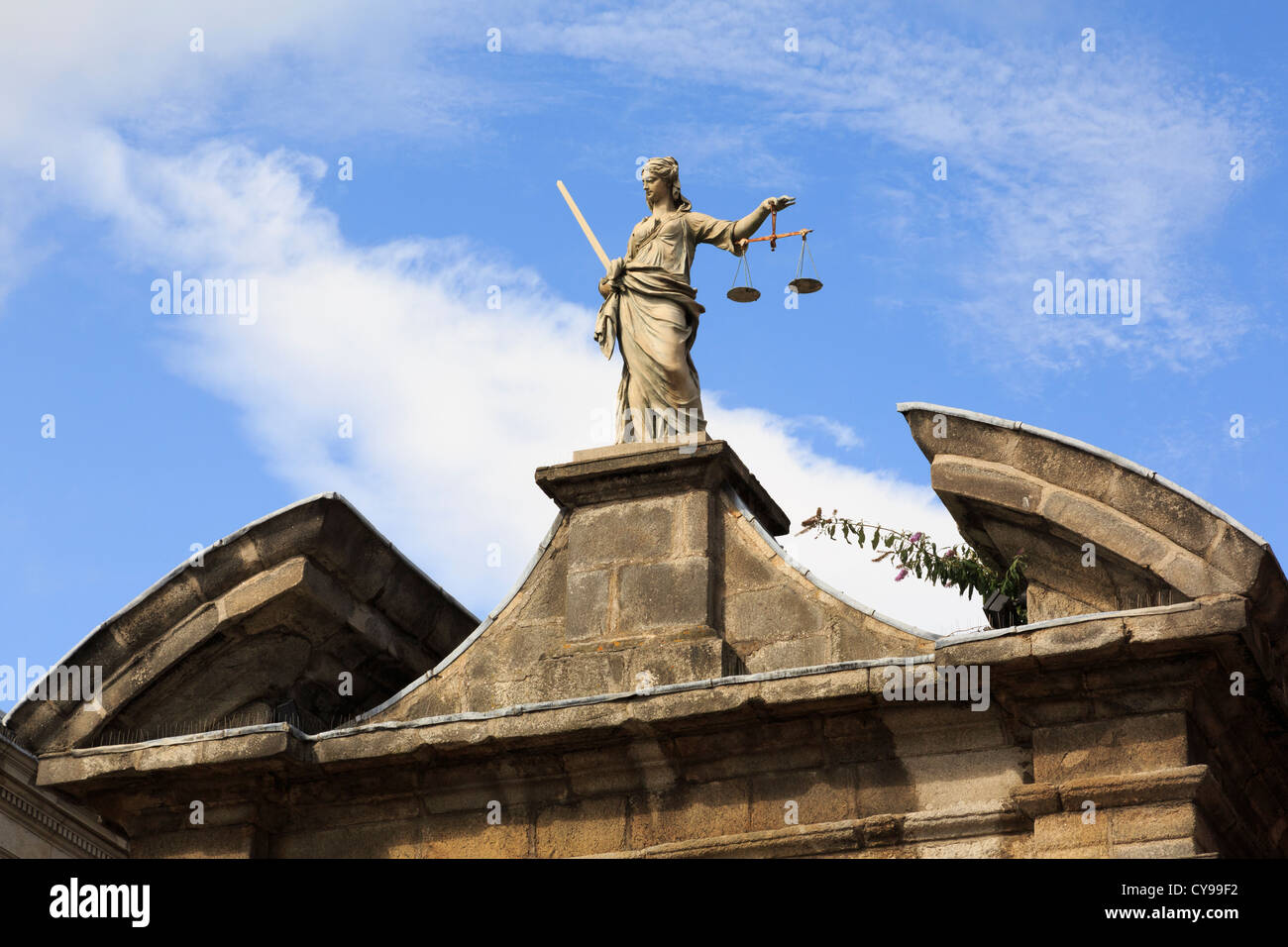 Dublin, Republic of Ireland, Eire. Statue of Lady Justice holding scales above an entrance gate in Dublin castle Stock Photo