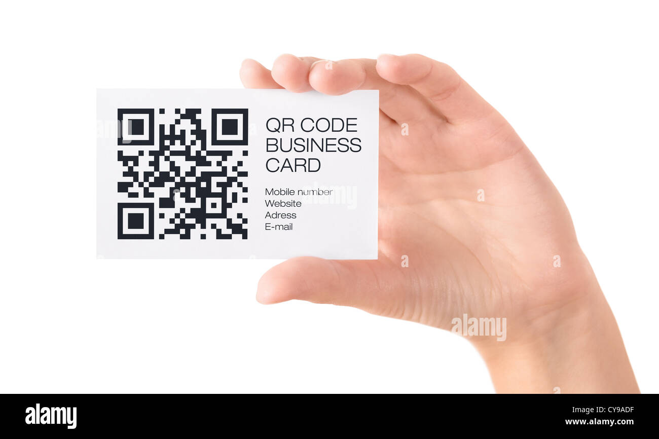 Hand showing business card with QR code information. Isolated on ...