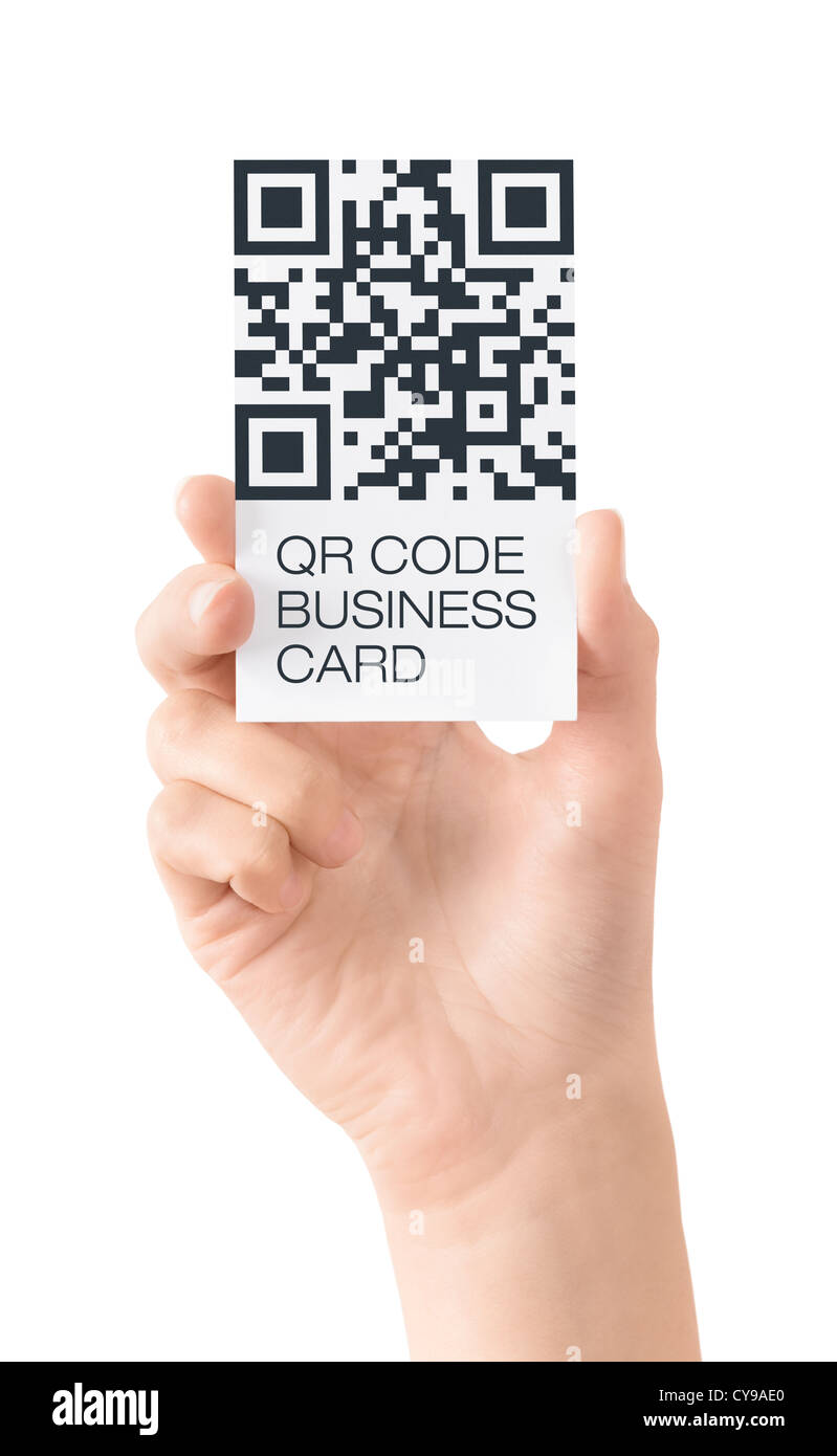 Hand showing business card with QR code data information. Isolated on white. - Stock Image