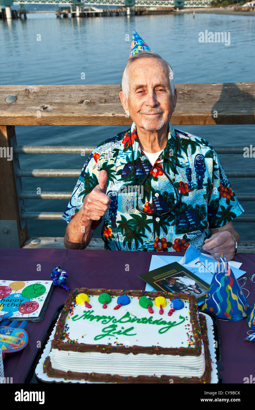 83 Year Old Man Pauses For Thumbs Up With His Birthday