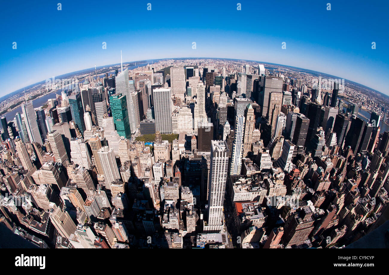 Top of New York - Curved Skyline of NYC - Stock Image