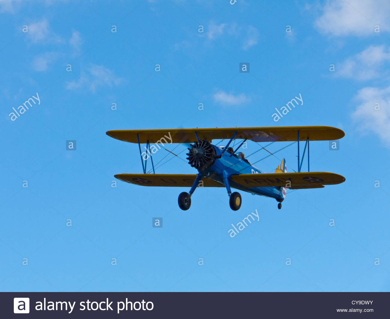 Boeing-Stearman Kaydet on final approach Goodwood Sussex England - Stock Image
