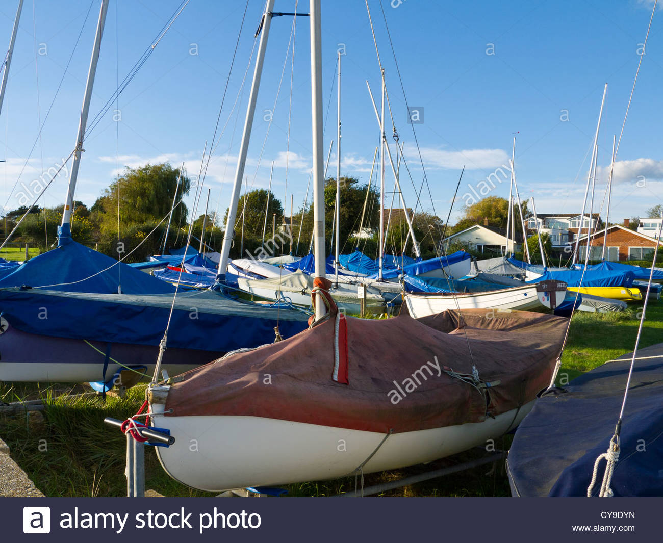 Sailing Boats laid up for winter months Emsworth Hampshire England - Stock Image