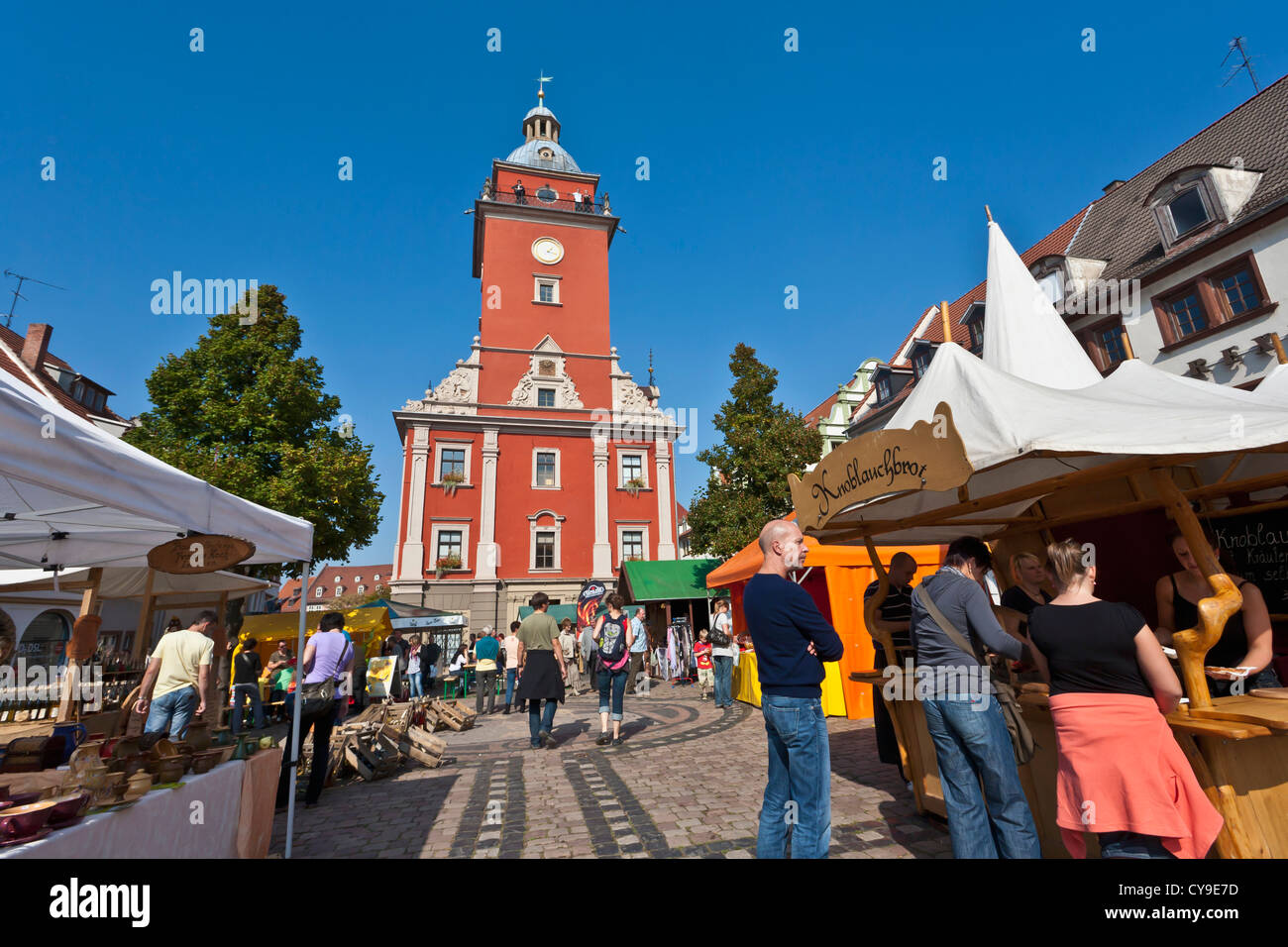 ARTS AND CRAFTS MARKET, HAUPTMARKT SQUARE, MARKET, TOWN HALL, GOTHA, THURINGIA, GERMANY - Stock Image