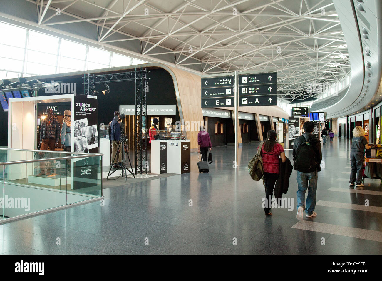 The inerior of the departure lounge, Zurich airport, Switzerland Europe - Stock Image