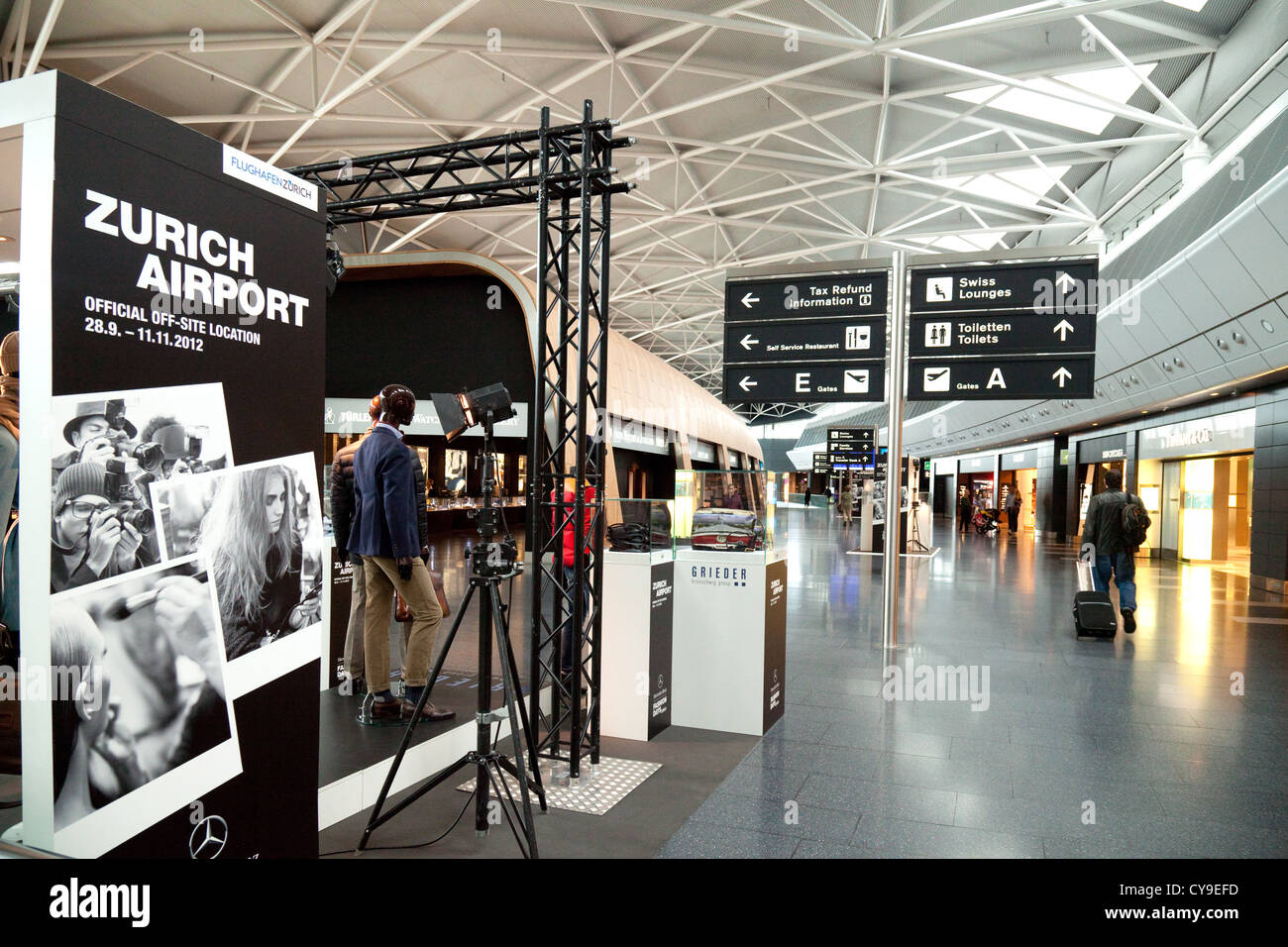 The interior of the Departure lounge, Zurich airport, Switzerland Europe - Stock Image