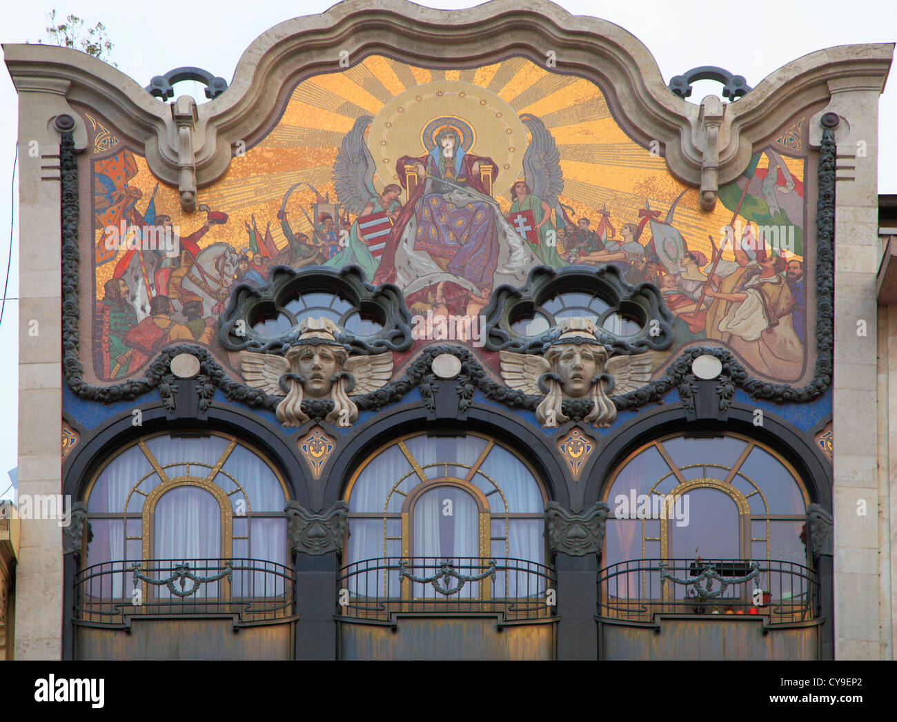 Hungary Budapest Art Nouveau Architecture Detail Stock