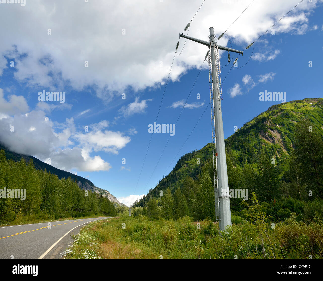 Steel hydro poles along highway 37A Stock Photo
